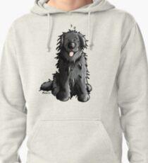 Black Newfoundland Dog Cartoon Pullover Hoodie