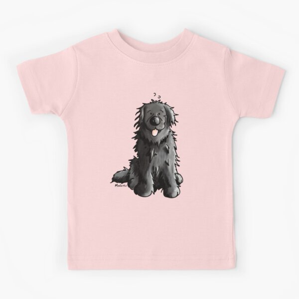 Black Newfoundland Dog Cartoon Kids T-Shirt