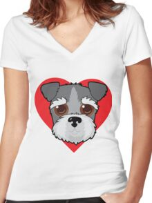 Schnauzer Face Women's Fitted V-Neck T-Shirt