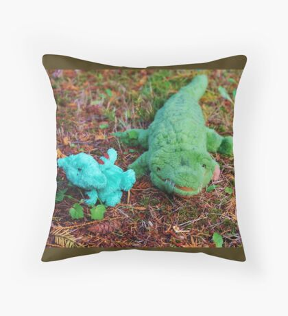 Gator McBumpypants and Herman the baby Pterodactyl Throw Pillow