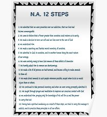 Narcotics Anonymous 12 Step Poster (See Artists Note for Traditions Link) Poster