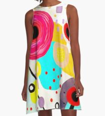 Ruth Fitta-Schulz - Watercolour Unique Handmade Abstract A-Line Dress