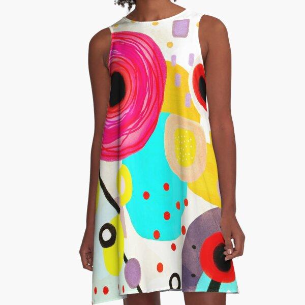 Ruth Fitta-Schulz - Aquarell einzigartige handgemachte Zusammenfassung A-Linien Kleid