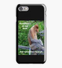 Proboscis Monkey maybe Thinking iPhone Case/Skin