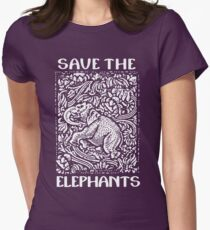 Save The Elephants Womens Fitted T-Shirt