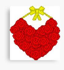 Pixel Rose Wreath Canvas Print