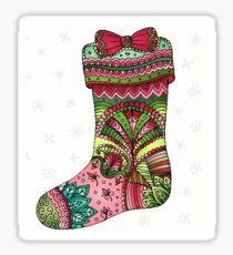 Christmas Stocking in pale snowflakes Sticker