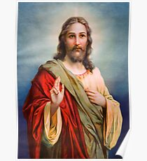 Jesus Blessing Religion Love Christ Catholic Christian Poster