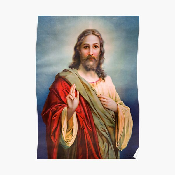 Jesus Blessing Religion Love Christ Catholic Christian Poster