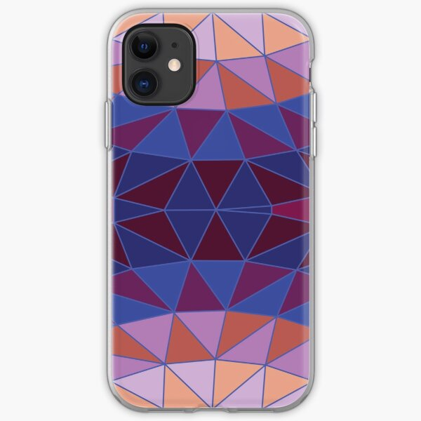 Geodesic Marquise - plum, blue and peach - Geometric pattern by Cecca Designs iPhone Soft Case