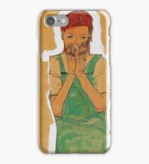 Egon Schiele - Girl With Green Pinafore 1910 iPhone Case/Skin