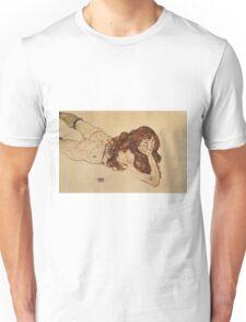 Egon Schiele - Female Nude Lying On Her Stomach 1917 Unisex T-Shirt