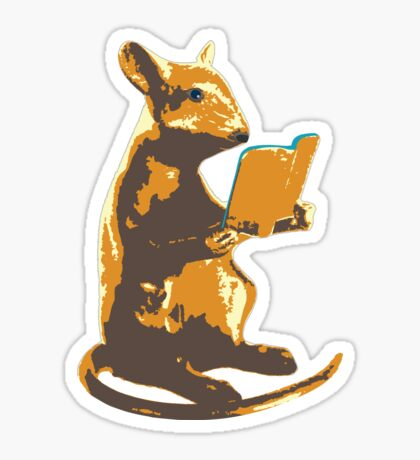 Book Mouse - gold Sticker