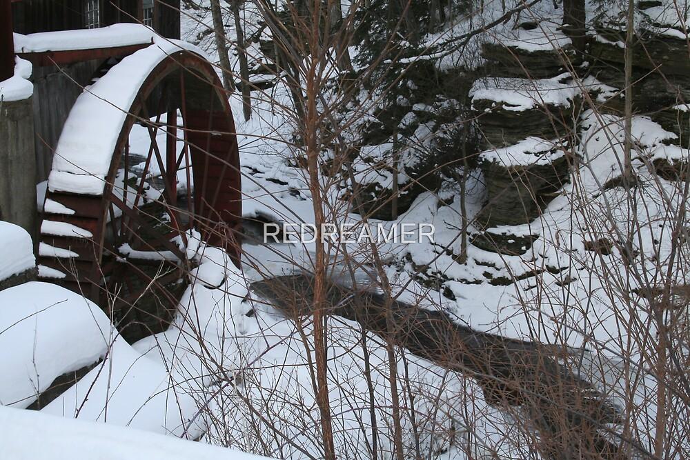 REDREAMING WATERWHEEL IN WINTER by REDREAMER