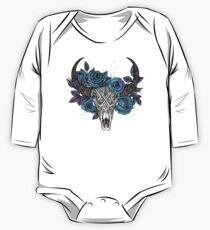 Buffalo Skull & Roses watercolor One Piece - Long Sleeve