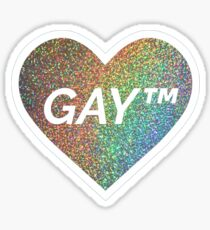 Gay Trademark Symbol - rainbow holographic sparkle heart Sticker