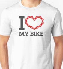 I Love My Bike - Cycling Lover Chain Heart Unisex T-Shirt