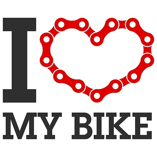 I Love My Bike Cycling Lover Chain Heart Posters By