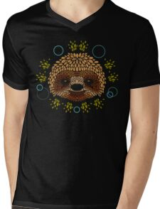 Sloth Face Mens V-Neck T-Shirt