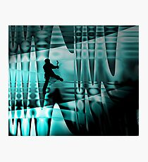 Climbing the frozen waterfall Photographic Print