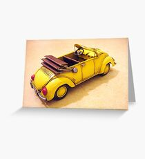 Yellow VW bug  Greeting Card