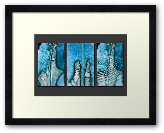 Leaf Blues Triptych by Lesley Smitheringale