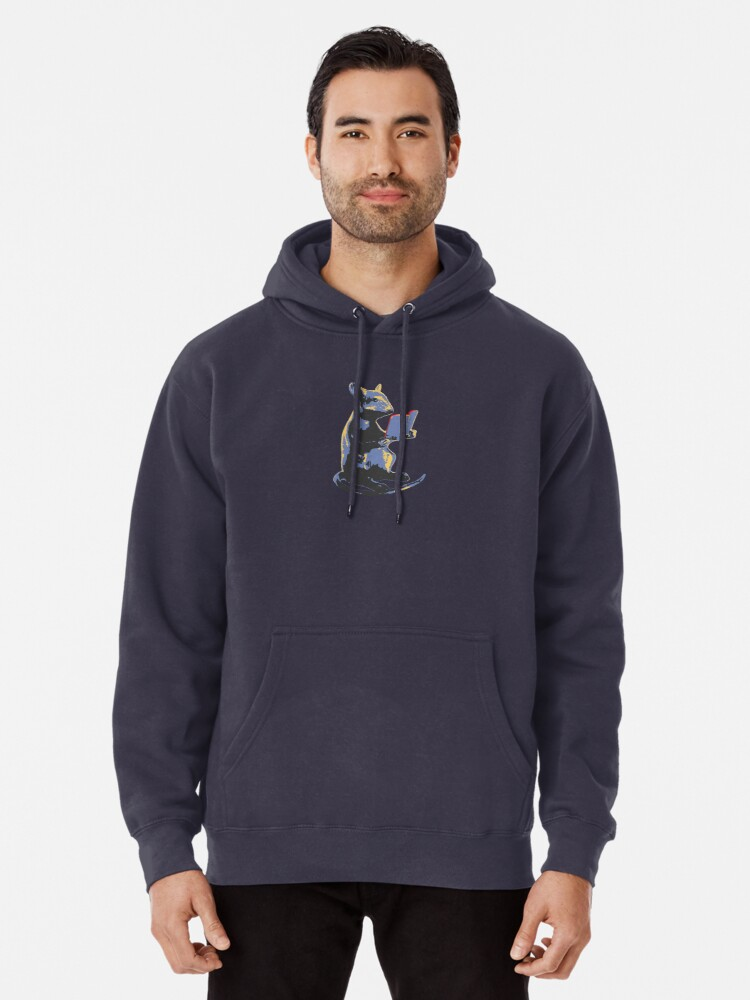 Alternate view of Book Mouse - blue Pullover Hoodie