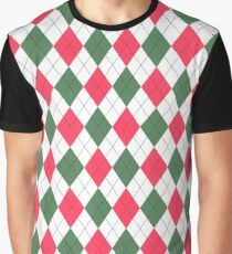 Red, White & Green: Argyle Pattern Graphic T-Shirt
