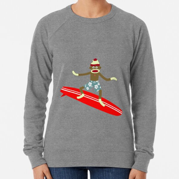 Sock Monkey Surfer Lightweight Sweatshirt
