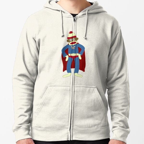 Sock Monkey Superhero Zipped Hoodie