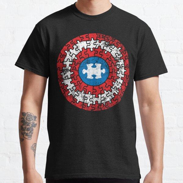 Autism Awareness Captain Autism Puzzle Shield Classic T-Shirt