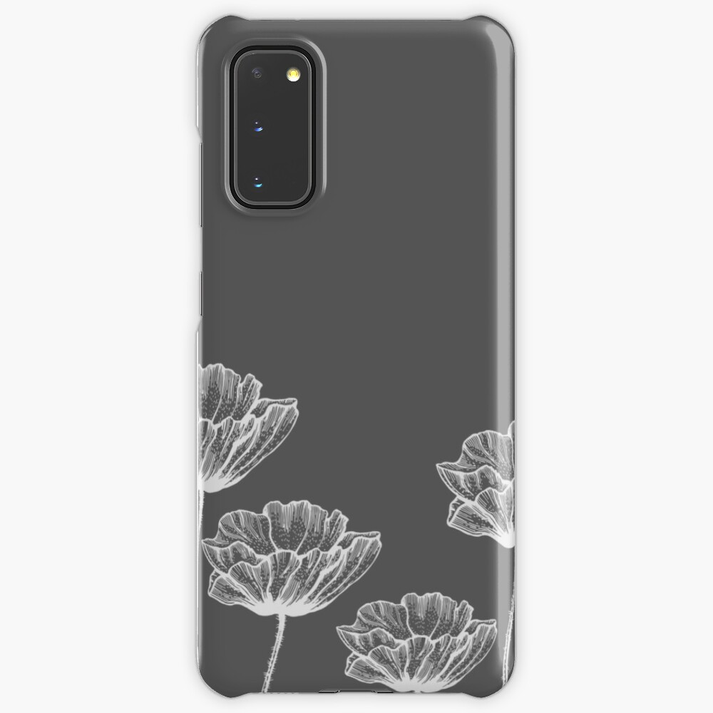 Poppy Graphic Spring Design Nature Illustration Flower Grey Case Skin For Samsung Galaxy By Lex Sky Redbubble