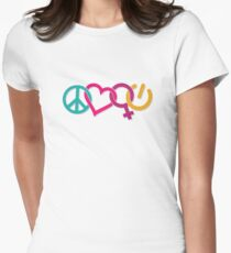 Peace Love Girl Power Symbol Multicolor Womens Fitted T-Shirt