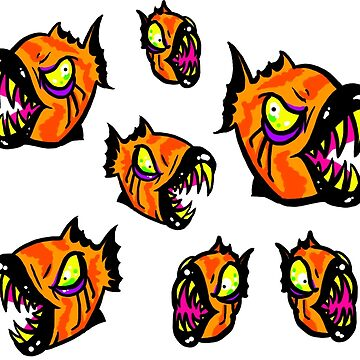 Angry Piranha Fish by z0mbieparade