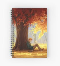 Enel Reading Under a Fall Tree Spiral Notebook