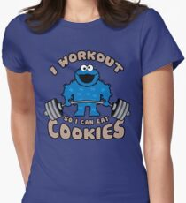 I Workout So I Can Eat Cookies (Cookie Monster) Womens Fitted T-Shirt