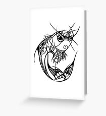 Jumping Fishy Black and White Greeting Card