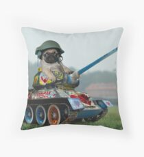 Tank Pug Throw Pillow