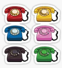 Colorful Old Fashioned Rotary Telephones Sticker