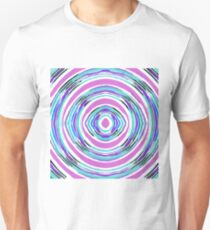 psychedelic graffiti circle pattern abstract in pink blue purple T-Shirt