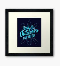 Seek The Outdoors - Kayaking Framed Print