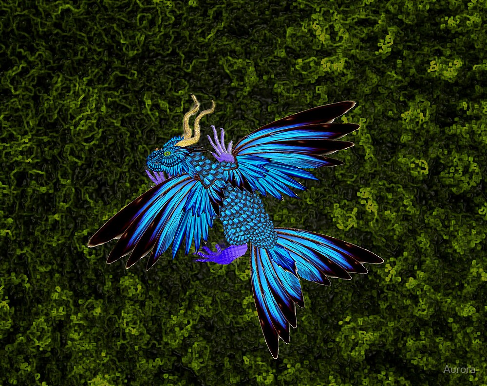 Blue dracopheonix on a green moss by Aurora