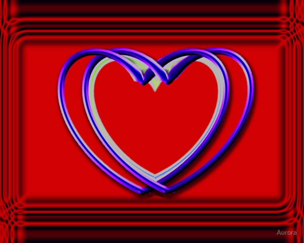 True blue hearts on red by Aurora