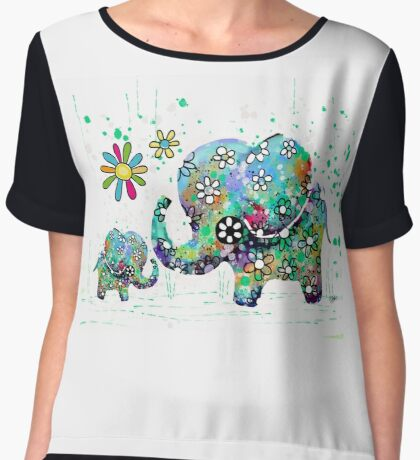 blooming elephants Women's Chiffon Top