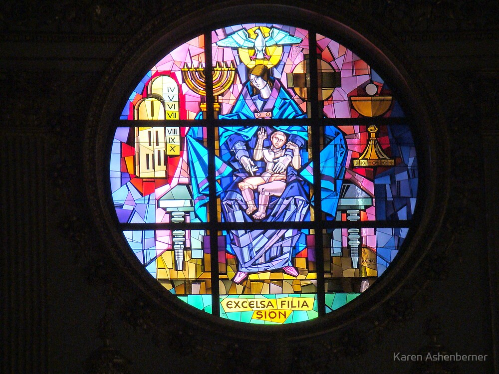 Stained Glass Windo at The Basillica di Santa Maria Maggiore by Karen Ashenberner