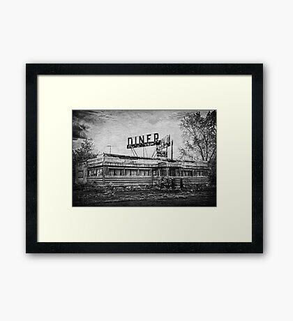Diner in B&W Framed Print
