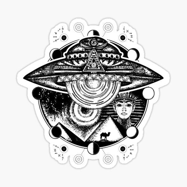 antiguos astronautas Diseño de camiseta de nave espacial sobre pirámides de Egipto Pegatina