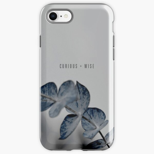 Curious And Wise Quote With Blue Floral Theme iPhone Tough Case