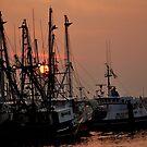 Fishing Boats at Sunset by Debra Fedchin
