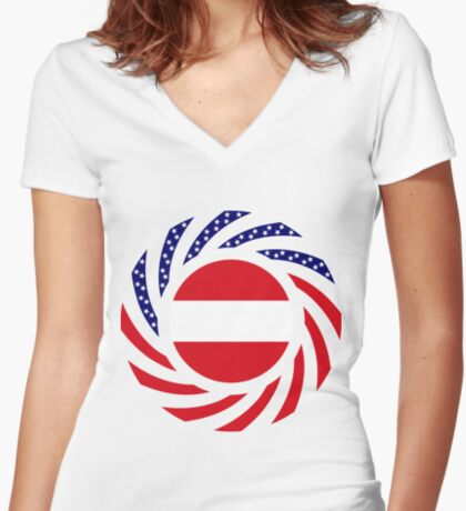 Austrian American Multinational Patriot Flag Series Fitted V-Neck T-Shirt